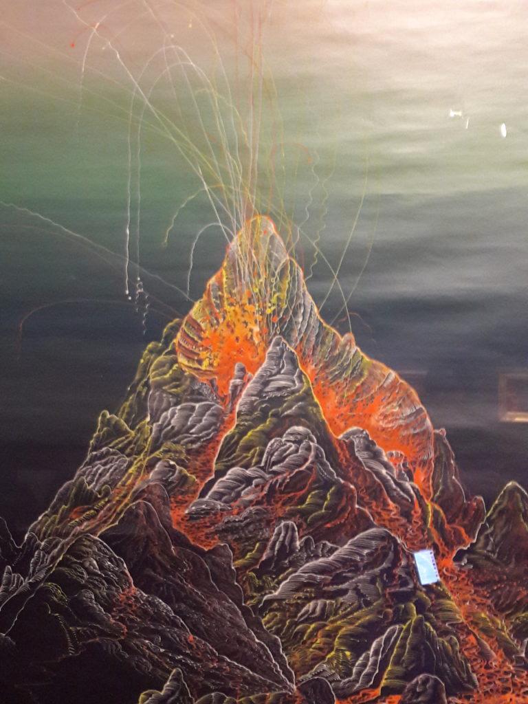 Bernhard Martin, acrilico di Vulcano in eruzione